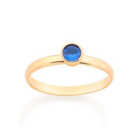 Anel Skinny Ring Solitário Azul Rommanel
