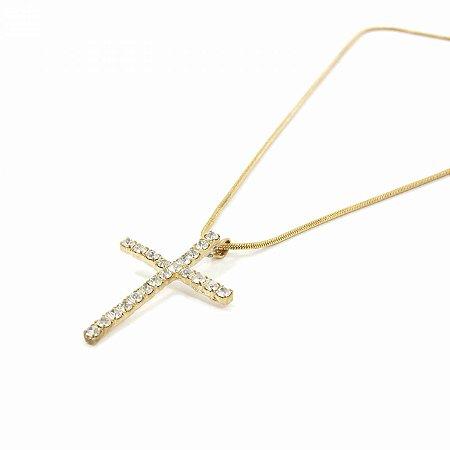 Colar Dourado de Crucifixo com Zircônias