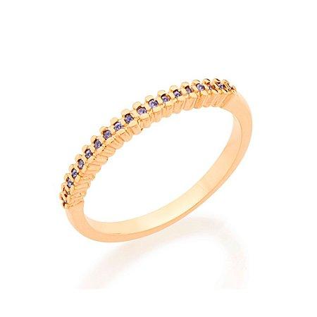 Anel Skinny Ring Cravejado Azul Rommanel
