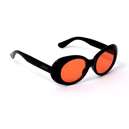Óculos de Sol Oval Preto e Laranja