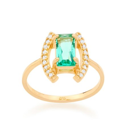 Anel Dourado Aro Fino Cristal e Zircônias Rommanel