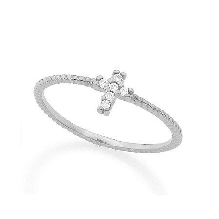 Anel Skinny Ring Aro Trabalhado Detalhe Formato Cruz Com Zircônias Rommanel