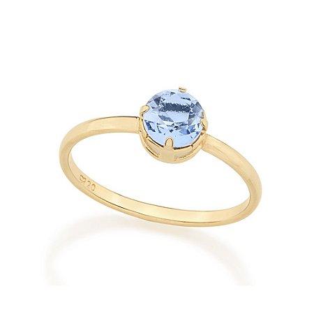 Anel Solitário Composto Por Cristal Azul Rommanel