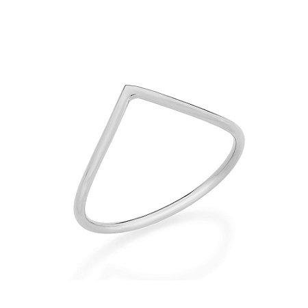 Anel Skinny Ring Aro Fino Em V Rommanel