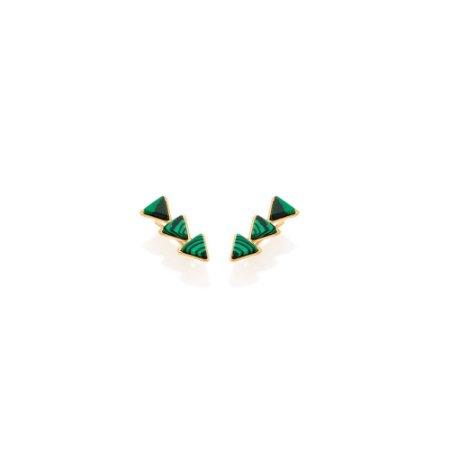 Brinco De Grampo Composto Por Pedras Verdes Triângulares Rommanel