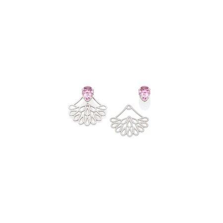 Brinco Ear Jacket Peça Com Detalhes Vazados E Cristal Rosa Rommanel