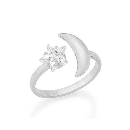 Anel Skinny Ring Ajustável Lua com Zircônia Branca Rommanel