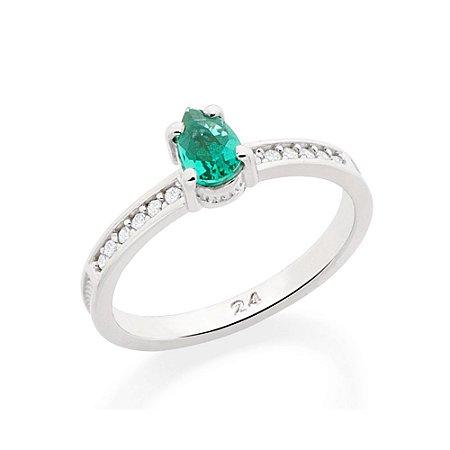 Anel Skinny Ring Zircônias Brancas E Cristal Verde Rommanel