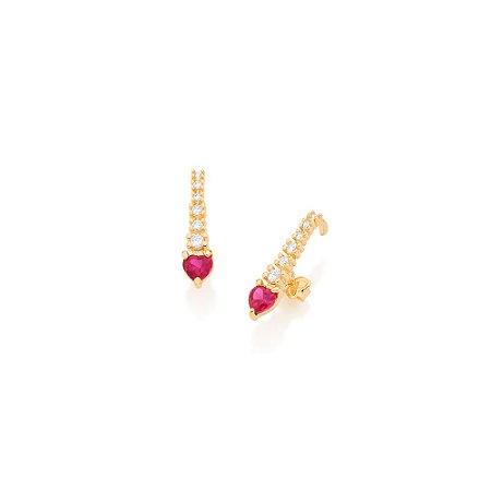 Brinco Ear Hook Filete Zircônias Brancas E Zircônia Rosa com Branco Coração Rommanel