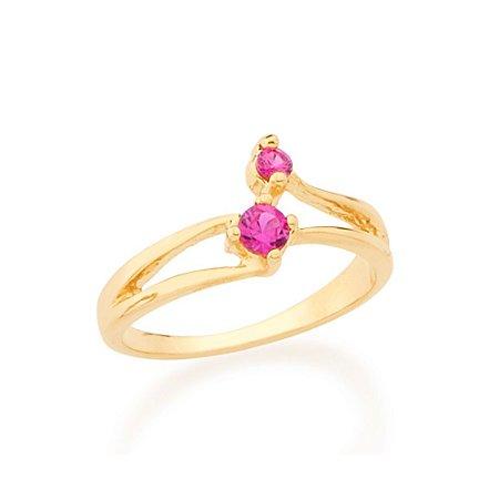 Anel Rosa Escuro Aro Fino Vazado Zircônias Rosa Escuro Rommanel