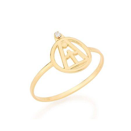 Anel Skinny Ring Nossa Senhora Aparecida Zircônia Rommanel