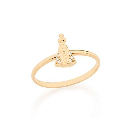 Anel Skinny Ring Nossa Senhora Aparecida Zircônias Rommanel