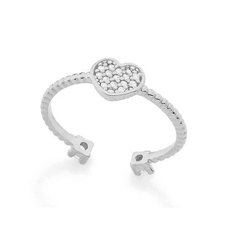 Anel Skinny Ring Ajustável Coração Zircônias Rommanel