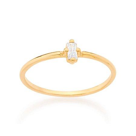 Anel Skinny Ring Solitário Com Zircônia Retangular Rommanel