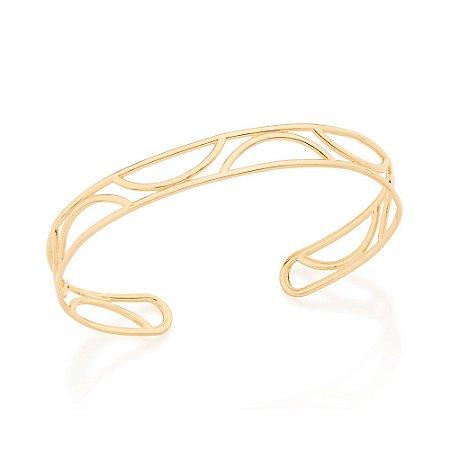 Bracelete Liso Com Detalhes Vazados Meio Círculo Rommanel