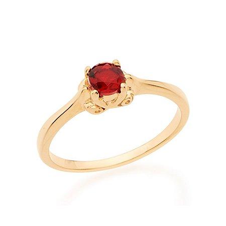 Anel Skinny Ring Solitário Com Cristal Vermelho Redondo Rommanel