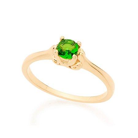 Anel Skinny Ring Solitário Com Cristal Verde Redondo Rommanel
