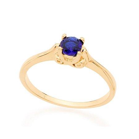 Anel Skinny Ring Solitário Com Cristal Azul Redondo Rommanel