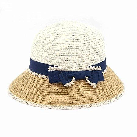 Chapéu de Praia com Renda e Laço