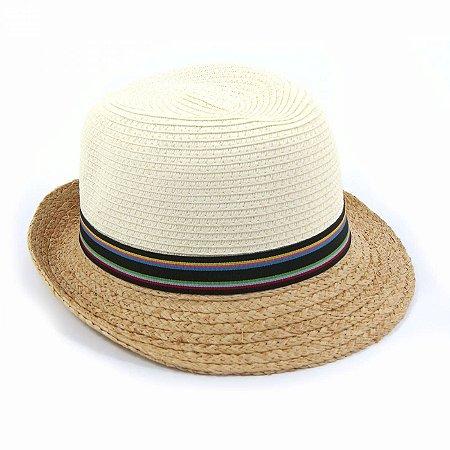 Chapéu Panamá com Faixa Colorida