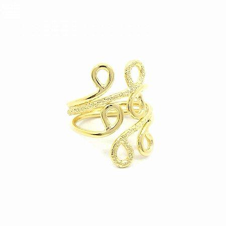 Anel Dourado Círculos Folheado à Ouro 18k