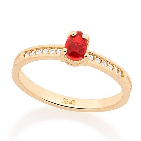 Anel com Zircônias e Pedra Vermelha Rommanel