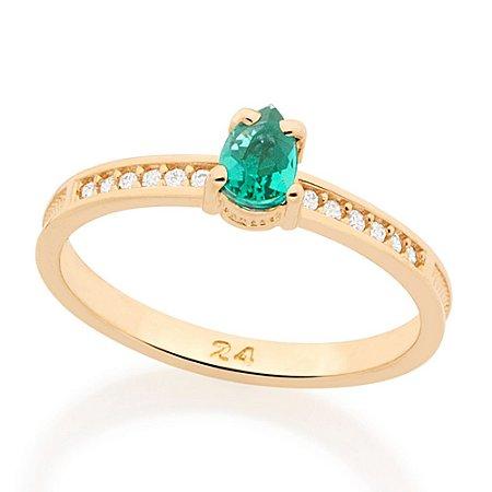 Anel com Zircônias e Pedra Verde Esmeralda Rommanel