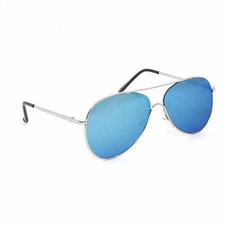 Óculos de Sol Aviador Prateado com Lente Azul Espelhado
