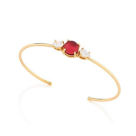 Bracelete Dourado com Pedra Vermelha Rommanel
