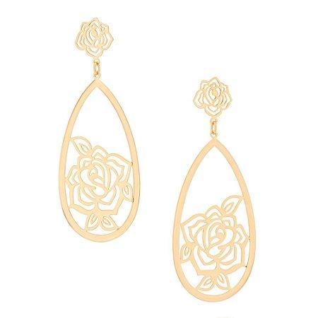 Brinco Dourado Gota e Flores Rommanel