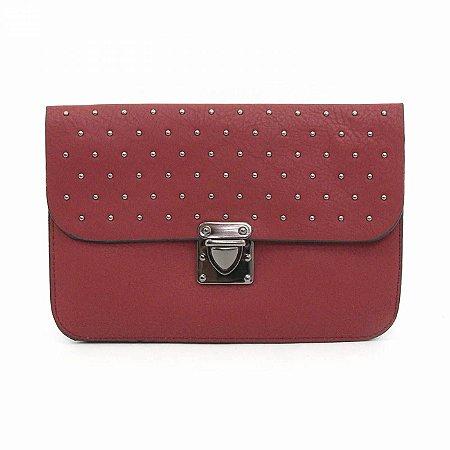 Bolsa Pequena Transversal Vermelho com Tachas