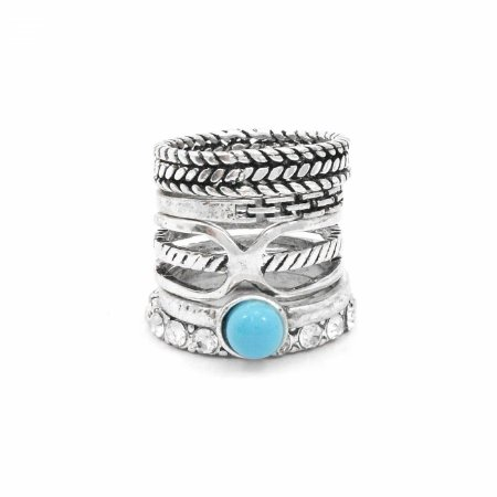 Kit Anéis Prateados com Pedra Azul e Strass