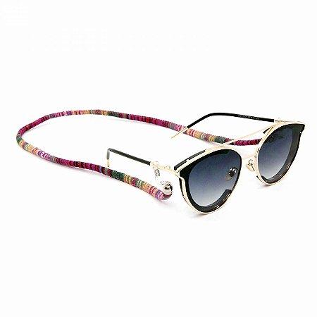 Cordão para Óculos com Estampa Étnica Rosa