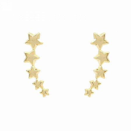 Brinco Ear Cuff Estrelinhas Folheado a Ouro 18k