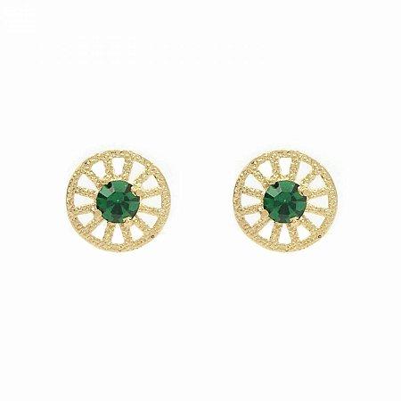 Brinco Redondo com Cristal Verde Folheado a Ouro 18k
