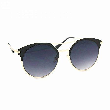 Óculos de Sol Estilo Top Bar com Lente Redonda Preta