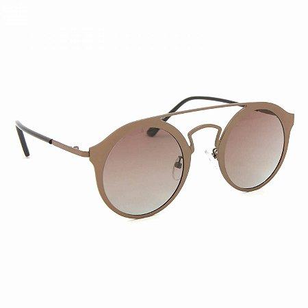 Óculos de Sol Estilo Top Bar Redondo Marrom
