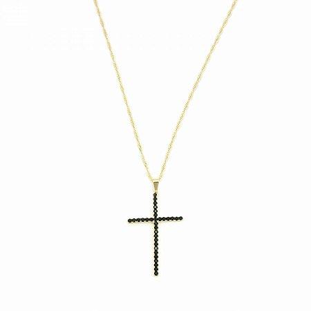 Colar Dourado com Crucifixo Strass Preto