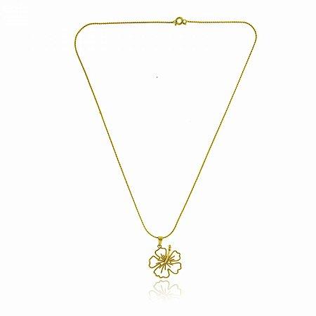 Colar Gargantilha Dourada com Flor
