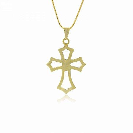 Colar Dourado com Cruz Vazada