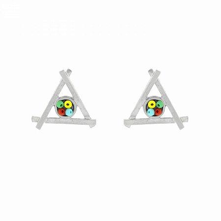 Brinco Prateado Triangular com Miçangas