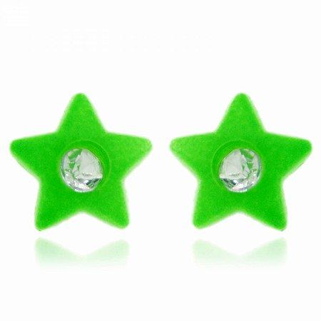 Brinco Estrela Verde Neon