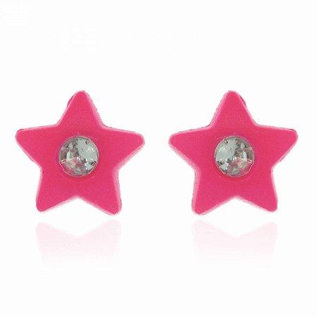 Brinco Estrela Rosa Pink