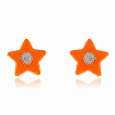 Brinco Estrela Laranja Neon