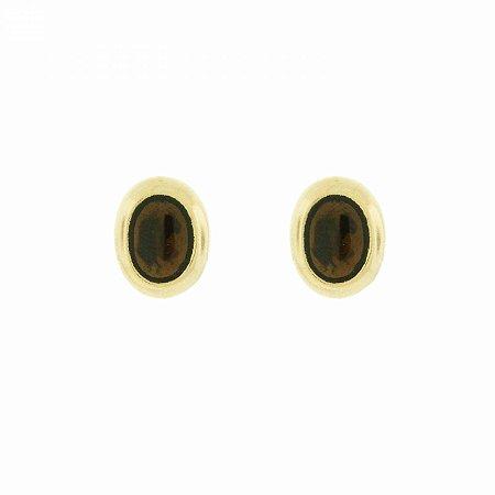 Brinco Dourado Oval Marrom