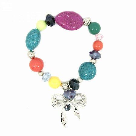 Pulseira Prateada Elástica Colorida com Pedras de Cristal