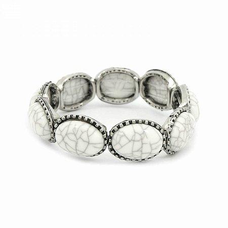 Pulseira Prateada com Pedras Off White