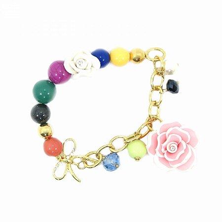 Pulseira Elástica Bolas Coloridas com Flor