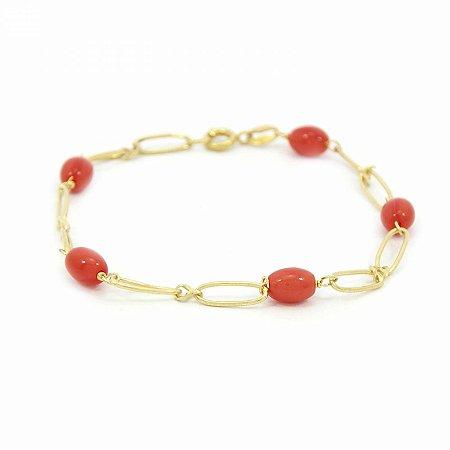 Pulseira Dourada Folheado com Pedra Vermelha