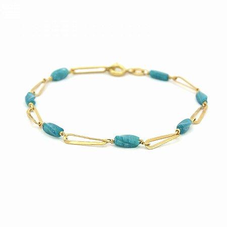 Pulseira Dourada Folheado com Pedra Azul